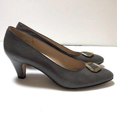 Salvatore Ferragamo Vintage Sz 8.5 AA Grey Gold Heels Leather Pumps Women's
