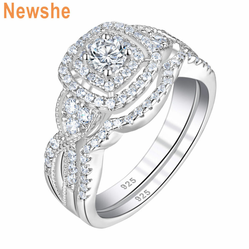 Newshe Wedding Engagement Ring Set For Women Round Aaaa Cz 925 Sterling Silver