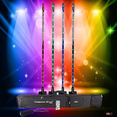 *Graded* Chauvet DJ Rechargable LED Freedom Stick Event 4 Pack Inc Bag & IRC-6