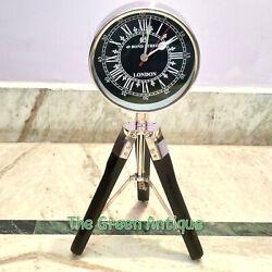 Antique Style Metal Floor Clock Quartz Wooden Tripod Stand Decorative Gift