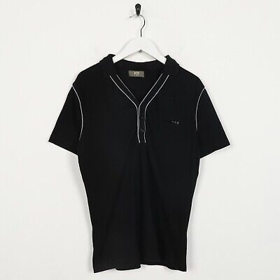 Vintage Women's ICEBERG Small Logo Button Up Polo Shirt Top Black | Large L