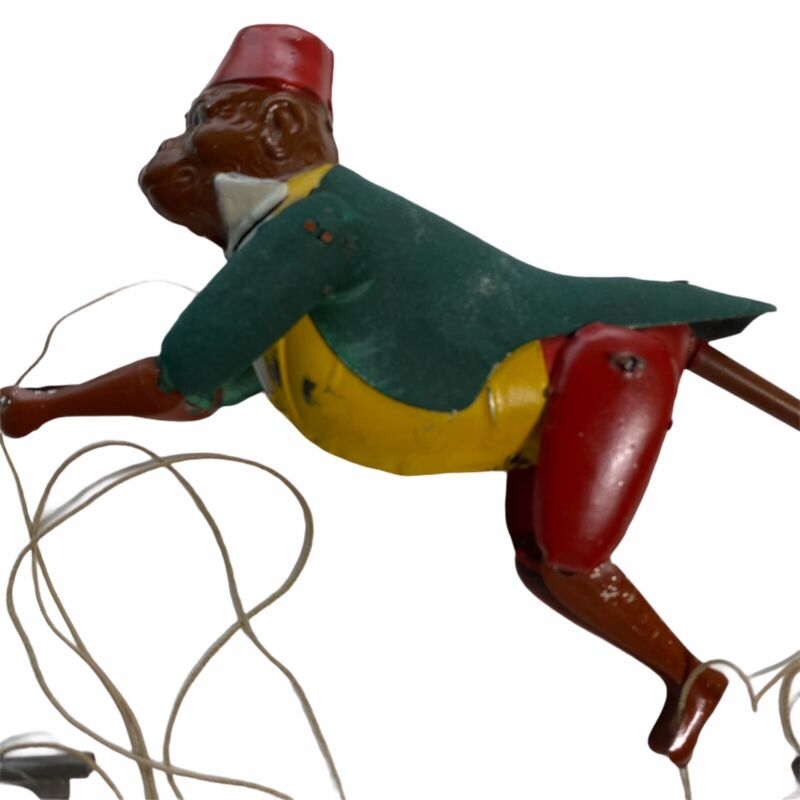 Antique 1900 Tin Monkey Climbing Rope String Pull Up Toy Rare 8 Inch