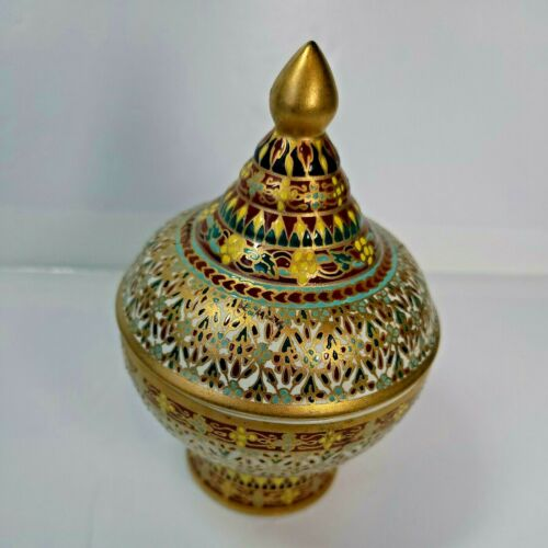 Vintage Benjarong Thai Ceramic Hand Painted bowl w/Lid with Velvet Case
