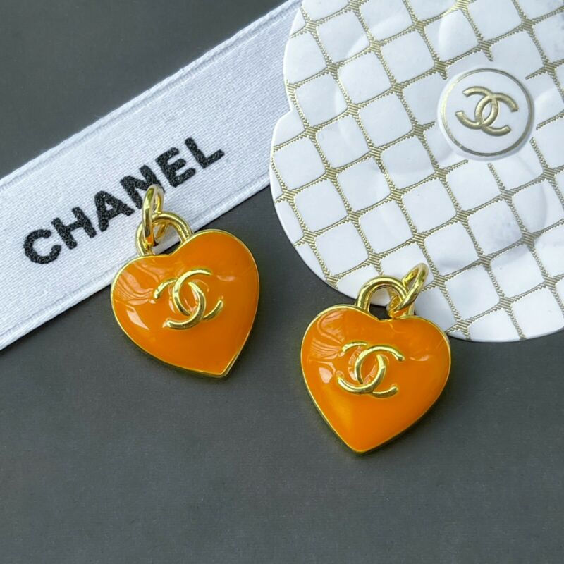 Chanel Orange Heart Zipper Pull Charm Stamped Auth 15 mm