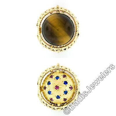 Flip 14k Ring (Handmade Vintage 14k Gold Tiger's Eye Red Blue Stone Open Work Flip Ball Ring )