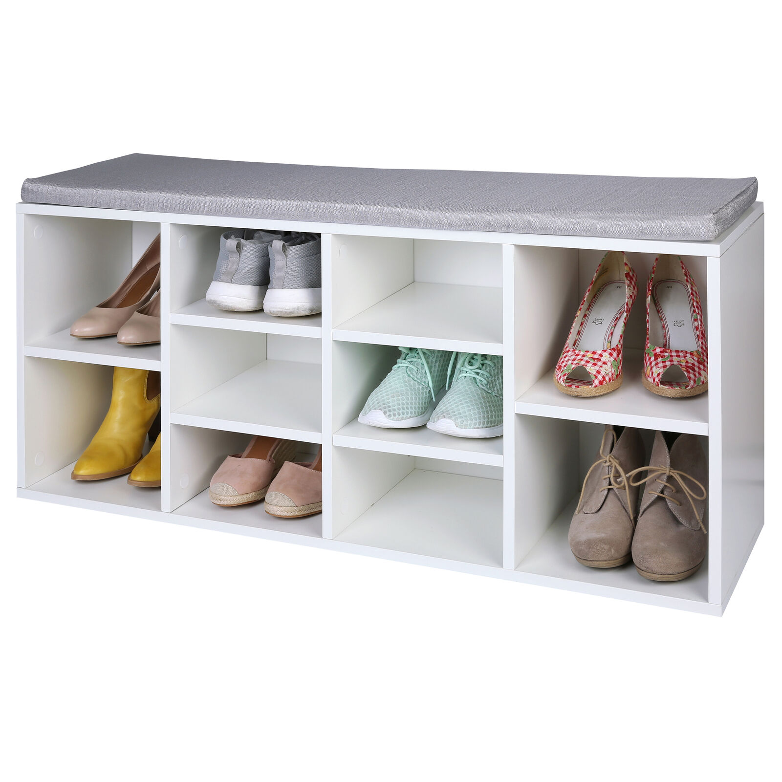 Schuhschrank mit Sitzkissen Sitzbank Schuhablage Schuhregal Aufbewahrung Holz