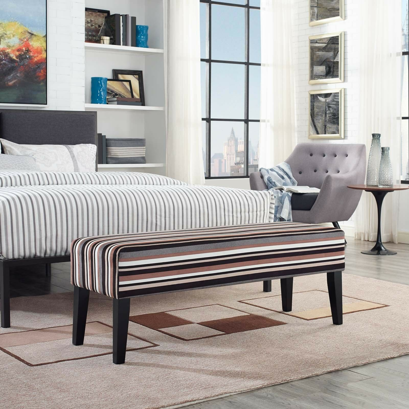 Details about Contemporary Modern Upholstered Fabric Bench in Stripe