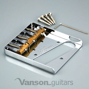 NEW-Wilkinson-Chrome-WTB-Ashtray-Bridge-for-Tele-guitars-with-Brass-Saddles