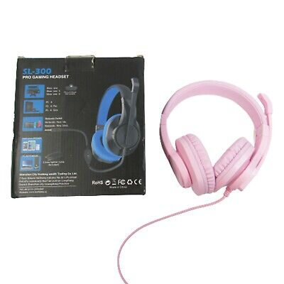 Butfulake SL-300 PINK Pro Gaming Headset w/ Mic for Xbox One PS4 Nintendo Switch