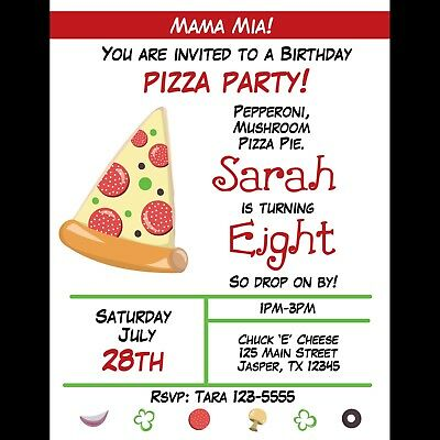 20 Personalized Birthday Invitations - Pizza Party -Whimsical Pizza Party Design