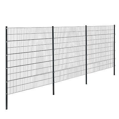 [pro.tec]® Gartenzaun 6x2m Grau Doppelstab Zaun Set Gittermatten Metallzaun