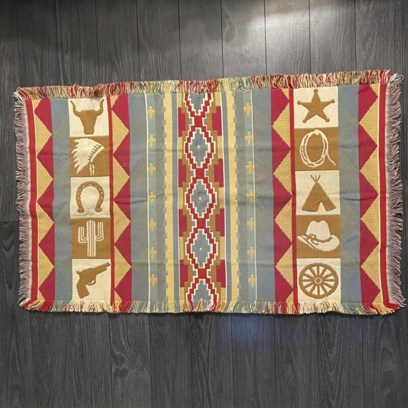 """Western Native American Cowboys & Indians Small Woven Decorative Rug 47""""x 27.5"""""""