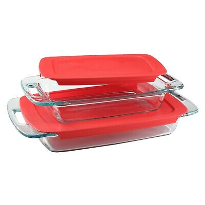 Easy Grab Oblong Baking Glass Dish Set with Covers 4 Piece 3Qt 2Qt with Lids New