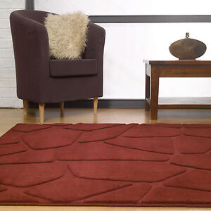 NEW-MEDIUM-MODERN-10-11MM-THICK-STONE-PATTERN-RED-VISIONA-120x170cm-RUG