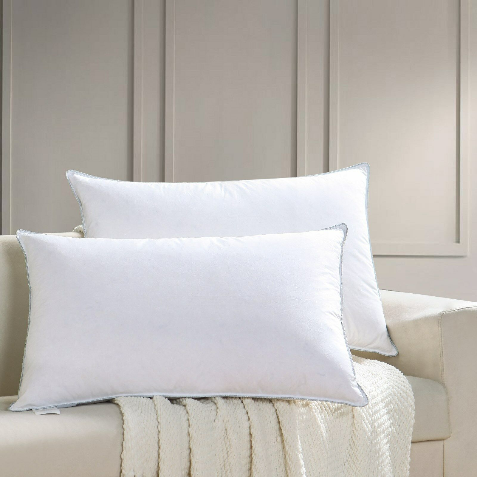 Goose Down Feather Pillow for Sleeping ,100% Cotton Shell