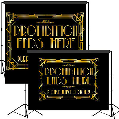 Roaring 20s Gatsby Prohibition Ends Here Backdrop Scene Setter Photo Booth - Roaring 20s Props