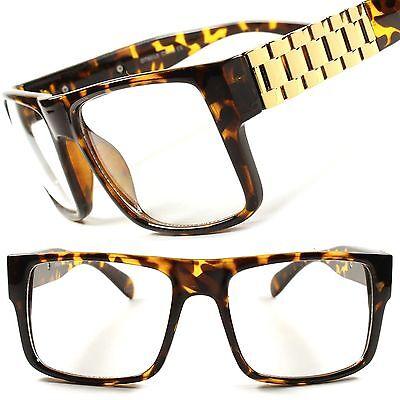 Millionaire Swag Hip Hop DJ Tortoise Gold Hot Mens Womens Clear Lens Glasses (Millionaire Glasses)