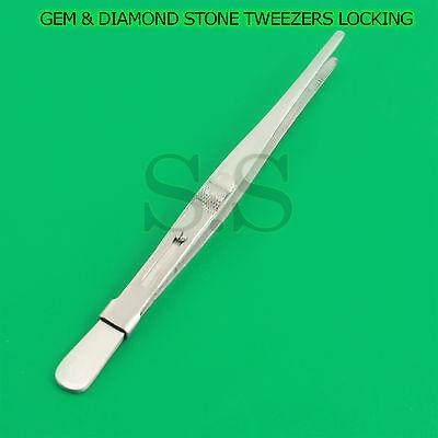 PREMIUM GEM & DIAMOND STONE TWEEZERS LOCKING JEWELRY TWEEZER SLIDE LOCK FINE TIP