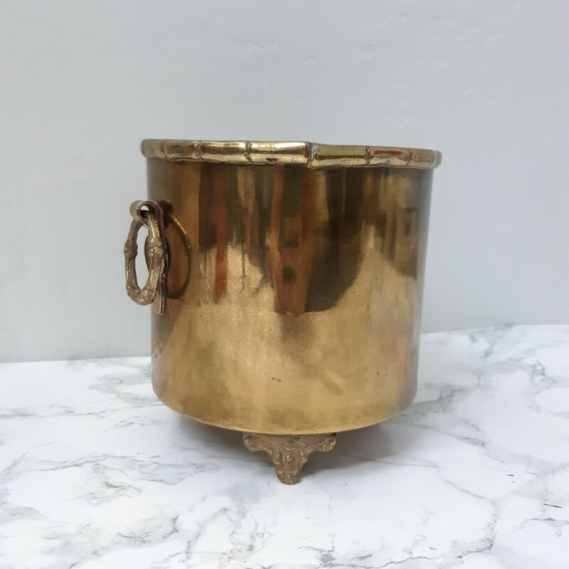Vintage Brass Champagne Ice Bucket Hollywood  Regency Bamboo planter