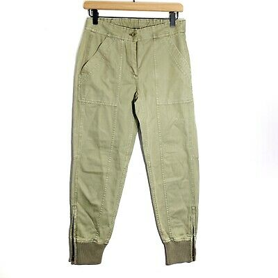 J. Crew Women Ankle Zip Cargo Pants Size 0 Green Joggers Ribbed Cuff