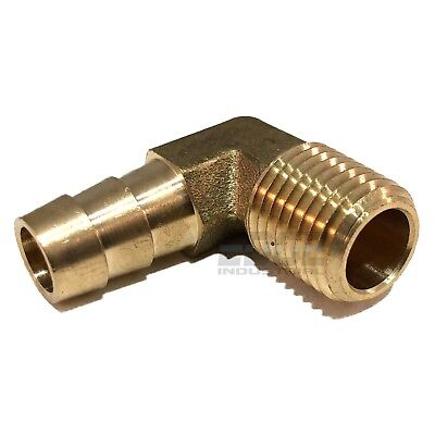 38 Hose Barb Elbow X 14 Male Npt Brass Pipe Fitting Thread Gas Fuel Water Air