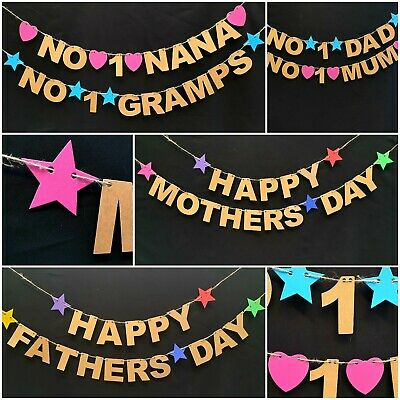 Happy Mothers Day Fathers Day banner bunting No 1 Mum Dad Nana Party decorations - Fathers Day Decorations