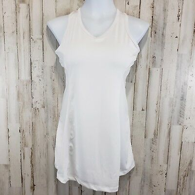 Fila Womens Athletic Top L White Long Fitted Sleeveless Keyhole Back Tennis
