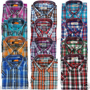 Mens-Menswear-Poly-Cotton-Check-Print-Short-Sleeve-Casual-Shirt-Summer-New-M-2XL