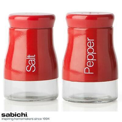 Sabichi Red Salt & Pepper Shakers Pots Condiment Jar Set - Stainless Steel Glass ()