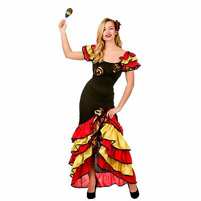 Spanish Dancer Fancy Dress (Rumba Spanish Flamenco Dancer Salsa Classic Senorita Womens Fancy Dress)