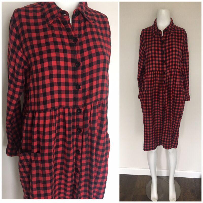 Vintage Red Plaid Flannel Midi Pocket Dress Sz M-L Boho 80's 90's