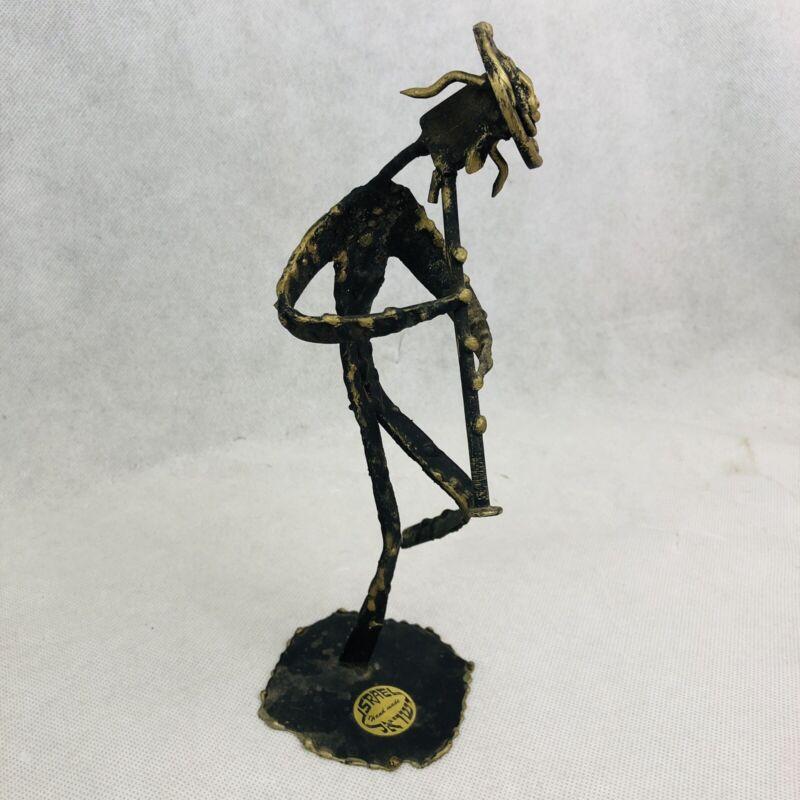 Vintage Jewish Man Playing Horn Metal Statue Sculpture Handmade Israel Signed