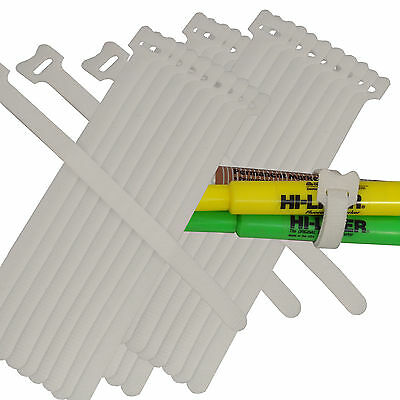 30pc 820cm Hook Loop Nylon Cable Ties Wire Strap Zip Wrap Fastening White
