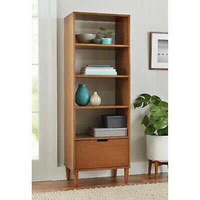 Bookcase Mid Century Modern Bookshelf Tall Narrow Wooden Display Tower Bookcases ()