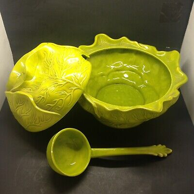 Vintage CABBAGE MAJOLICA SOUP TUREEN W/LID & LADLE - RARE ITEM for sale  Florence