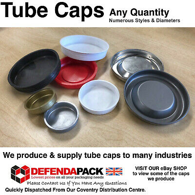 100 WHITE POSTAL TUBE END CAPS 44mm 1.75