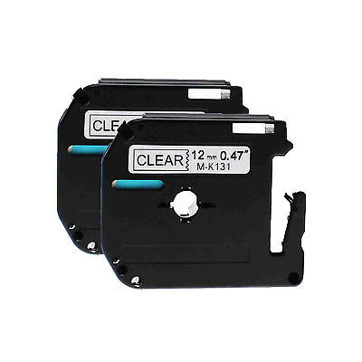 Black On Clear Tape For Brother 12mm M-k131 Mk131 Pt-65 P-touch Label Maker 2pk
