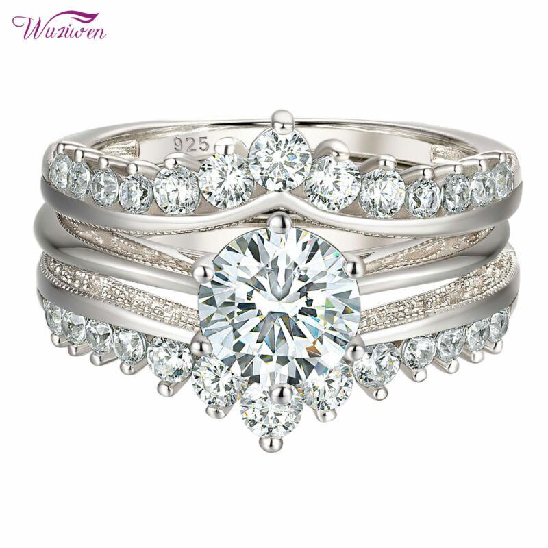 Wuziwen Wedding Engagement Ring Set Enhancer 2ct Sterling Silver Round Aaaaa Cz