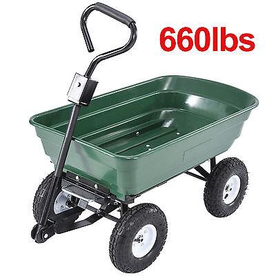 Garden Dump Cart Dumper Wagon Carrier Utility Wheelbarrow Air Tires Heavy Duty