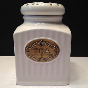 new thl classic white shabby chic tea canister 6 5 quot ebay