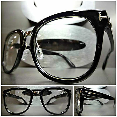 Mens or Women VINTAGE 60s RETRO Style Clear Lens EYE GLASSES Black Fashion Frame