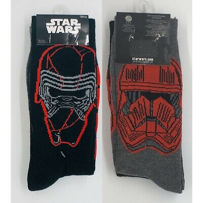 New STAR WARS Mens 2 Pair Of Crew Socks KYLO REN SIZE 6-12