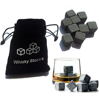 9 PCS WHISKY ROCKS ICE STONES DRINKS COOLER CUBES WHISKEY GRANITE SCOTCH & POUCH