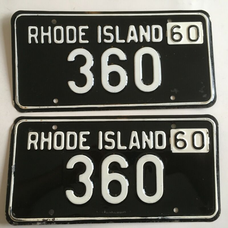 1960 Rhode Island License Plate PAIR Plates Low Number 3 Digit Tabs on 1959 base