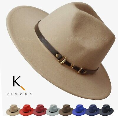Woolish Fedora Men Women Belt Felt Hat Wide Brim Trilby Panama Hat Wide Brim Cap Broad Brimmed Hat