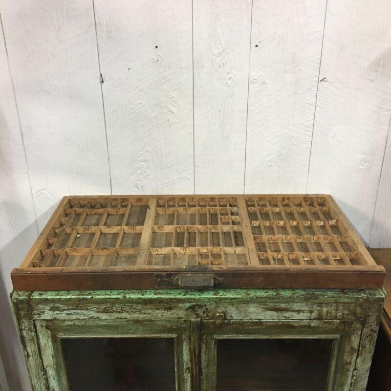 Antique Hamilton Printers Cabinet Wood Block Letter Type Drawer Tray Shelf