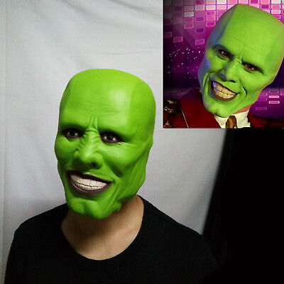Movie The Mask Jim Carrey Green Latex Mask Cosplay Costume Halloween Party Prop