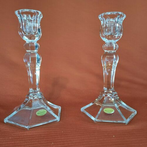 A Teleflora Gift Crystal Candlestick Holders; Made In France
