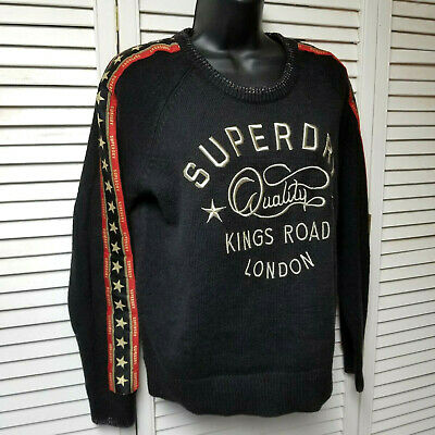 SUPERDRY Rock Jumper Sweater Spell Out Logo Embroidered Kings Road London size 8
