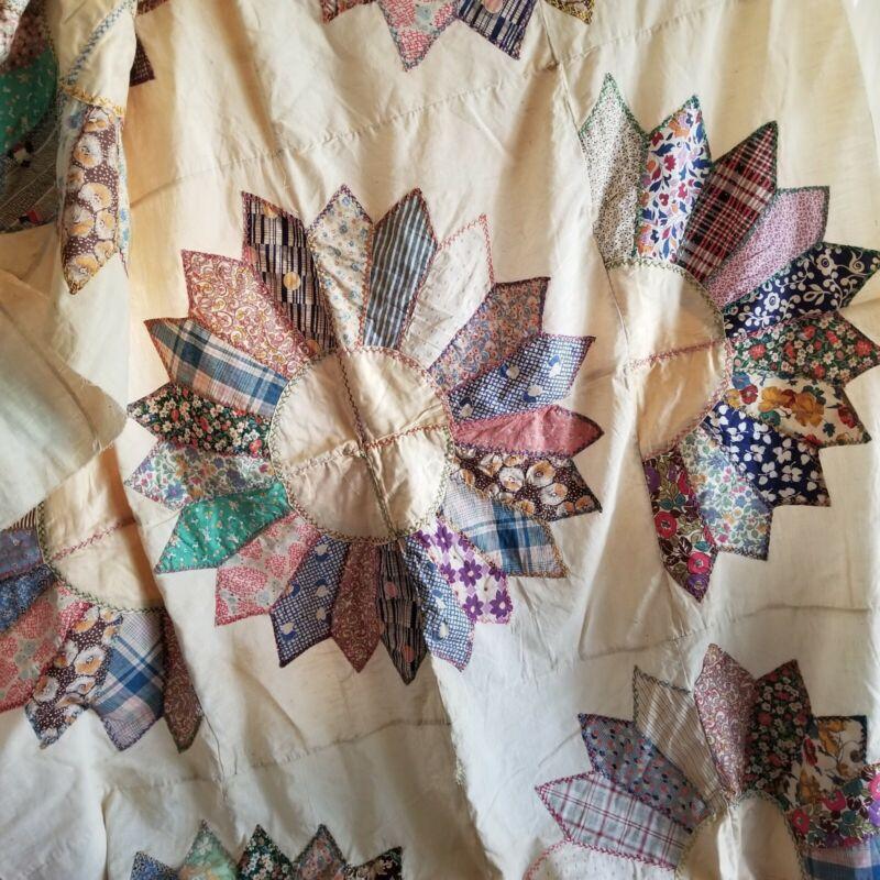 Vintage Freedsack Quilt Top 58 x 86 Applique Hand Embroidered Sunflower